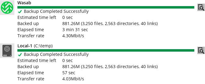 Azure - Backblaze B2 - Wasabi speed test results